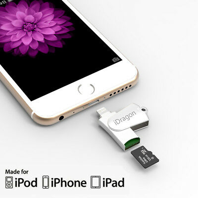 Metal USB Flash Drive Micro SD TF Card Reader For iPhone iPad PC IPod Touch IOS