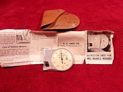 Antique B.C.  Ames Thickness Measure No. 25, with Pouch And Paperwork