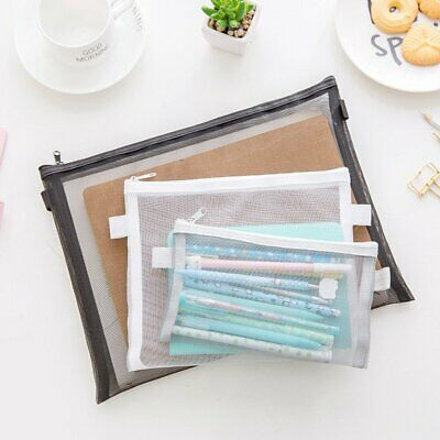 Clear Exam Pencil Case Simple Mesh Zipper Stationery Bag School Bag Pouch EU
