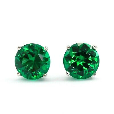 1 Ct. Green Round Cut Diamond Earrings Studs Solid14K White Gold Screw Back