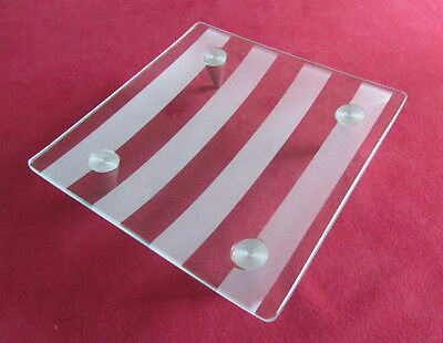 Small Square Curved Plate Trinket Candy Dish Clear & Frosted Glass w/ Metal Legs