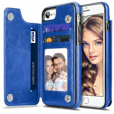 For iPhone XS 6 S10 Plus Leather Wallet Credit Card Holder Stand Back Cover Case