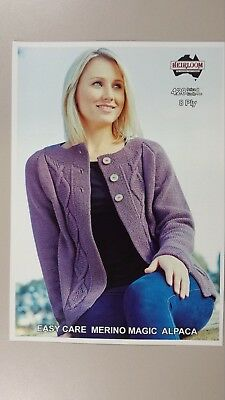 Heirloom Knitting Pattern #428 Ladies Cable Panel Cardigan to Knit in 8 Ply
