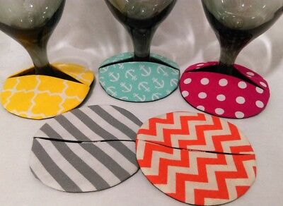 Colorful Summertime wine glass and stemware slip on coasters