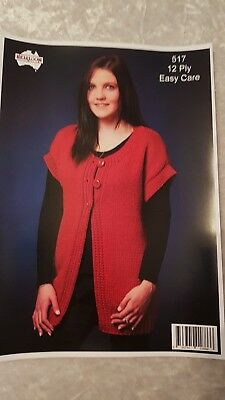 Heirloom Knitting Pattern #517 Ladies Long Vest to Knit in 12 Ply