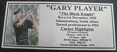 Golf Gary Player Gold or Silver Plaque free post*****