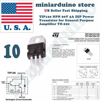 5 X TIP120 NPN Power Transistor (TO-220) - TIP120 - 1st