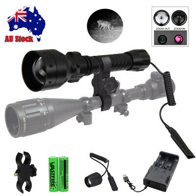 T50mm Infrared IR 850nm LED Zoomable Hunting Light Night Vision Torch Gun Mount