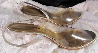 Vintage Jack Rogers Dress Pumps Gold Clear Size 8 1/2 Medium