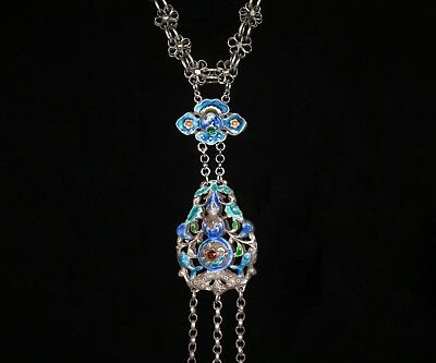 Vintage Chinese Silver Enamel Bat Pendant, Antique Chinese Silver Chain
