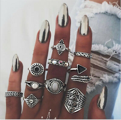 10Pcs/Set Women Lady Boho Vintage Silver/Gold Punk Knuckle Finger Midi Rings NEW