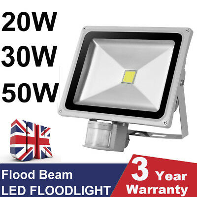 LED Floodlight PIR Sensor 10/20/30/50W Security Garden Wall Outdoor Bright Light