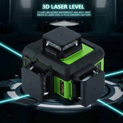 3D Laser Level 12 Line IP54 Self Leveling 360° Rotary Cross Measure Set Tool hby