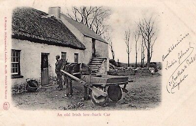 Old Irish Low Back Car Ireland Postcard Queen Victoria Stamp E Wrench Postcard