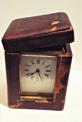 Brass Carriage Clock in original case with key