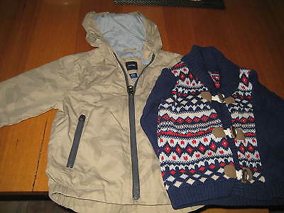 Toddler Baby Boy Clothes - Fair Isle Cardigan &Baby Gap Wind Jacket -18-24 month