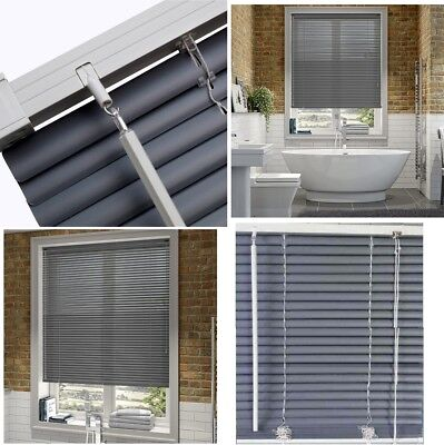 PVC Grey Venetian Window Blinds Blind For Home Office All Sizes Standard & Long