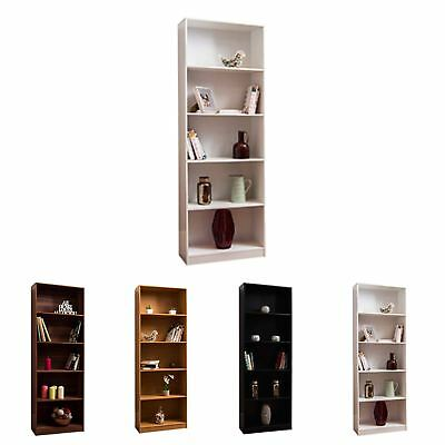 Cambridge 5 Tier XL Bookcase Display Shelving Storage Unit Stand Wooden Shelves