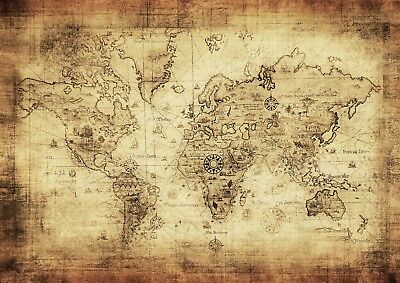 Vintage Distressed World Map Giant Poster - A4 A3 A2 A1 Sizes