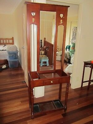 Hall, hat and umbrella stand with bevelled mirrors