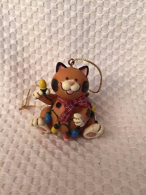 Cat Playing With Lights Christmas Ornament Resin adorable Orange Brown CUTE