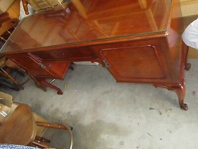 Antique Vintage Art Deco  Hall Table Sideboard With Glass Top