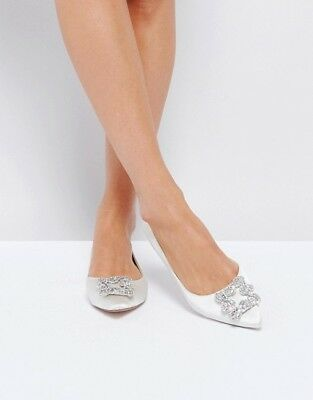 NEW - Dune London Bridal - Briella Embellished Flats - Ivory Satin - RRP $178.00
