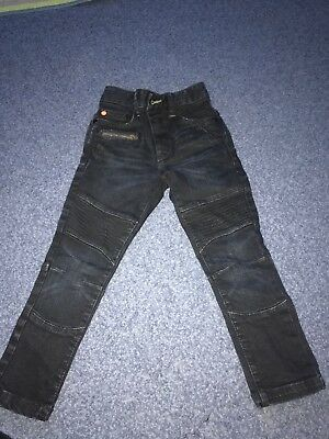 Dark Blue Boys ribbed detail Jeans 4years