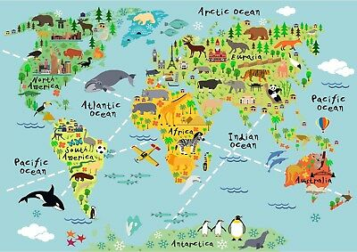 Animal World Map Kids School Geography Bedroom Giant Poster - A4 A3 A2 A1 Sizes