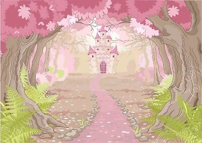 Pink Princess Castle Fairytale Girls Bedroom Giant Poster - A4 A3 A2 A1 Sizes