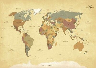 Vintage World Map Living Room Bedroom Giant Poster - A4 A3 A2 A1 Sizes
