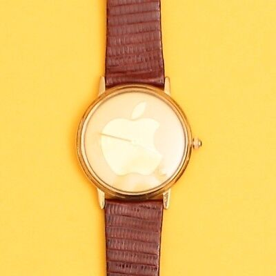 Vintage Retro Genuine Apple Logo Analogue Gold Apple Watch w/ Brown Leather Band