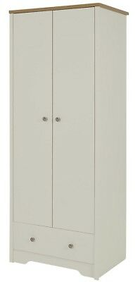 NEW Tesco Somerton 1 Drawer 2 Door Double Wardrobe - (Putty Grey & Oak Effect)