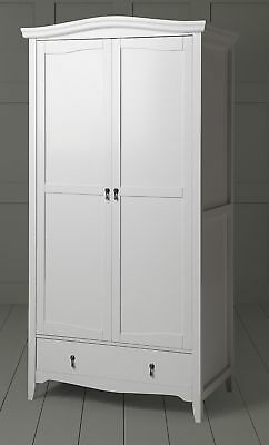 NEW Louis Classic French Style Solid Pine Double Wardrobe with Drawer (White)