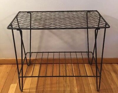 Vintage Mid Century Metal Wire Table Hair Pin Legs  Two Tier Shelf plant stand