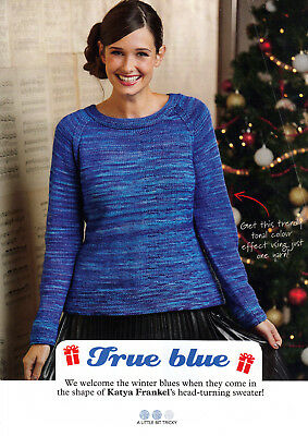 "KNITTING PATTERN LADIES 32-50/"" JUMPER 3//4-SLEEVES EASY DK SKM AUA"