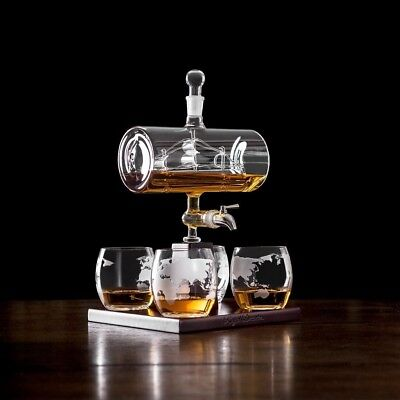 Father's Day Royal Decanters Sailing Ship - Perfect Gift Set 4 Etched for Brand