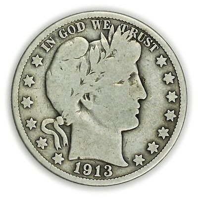 1913-S Barber Half Dollar, Large, Early Type, Silver Coin [3722.03]