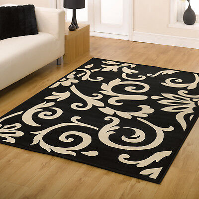 Floral Scroll Carved Small Large Runner Clearance Retro Flair Rugs Black Ivory