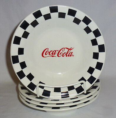 "Coca Cola Four Gibson Black Checkered Soup Bowls (8 1/8"")"