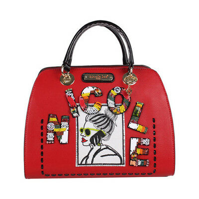 Nicole Lee Women's   Jezebel Beaded Patch Small Dome Satchel Red Size OSFA