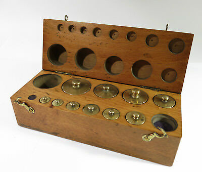 Antique Laboratory Metric Weight Set with 10 Brass Weights in Solid Maple Box