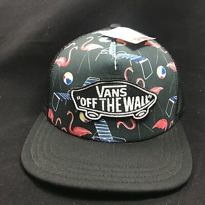 23980a5a Vans Off The Wall Classic Patch Flamingo Pool Vibes Trucker Hat Mens New NWT