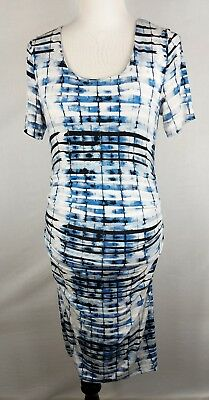LYSSE Woman's Maxi Dress Size Small Pleated Side Tummy Control Short Sleeve Blue