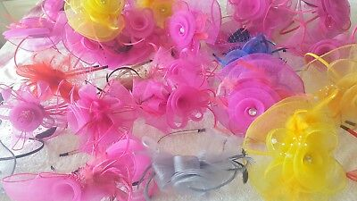 Joblot 30 pcs Feather & Sinamay Hair Fascinator on headband NEW wholesale