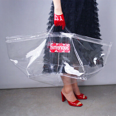 Clear Vinyl Plastic Bag Tote Shopper Handles Transparent Carrier Extra Large