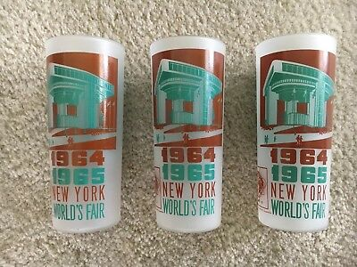 (3) NEW YORK WORLD'S FAIR 1964 1965 GLASSES of PORT AUTHORITY BUILDING