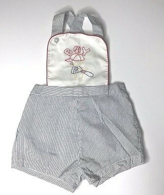 Vintage Romper Size 24 Months Blue White Baseball Boy Embroidery