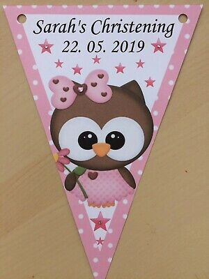 XL personalised pink girl christening bunting /decoration / Baby shower birthday