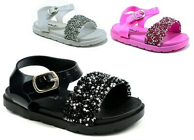 Infants GLITTER JELLY SANDALS Toddler Girls Pink Sparkle Buckle Slipper UK 4-9